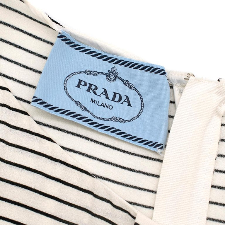 Prada Tie-Waist Striped Crepe Dress IT 40 For Sale 2