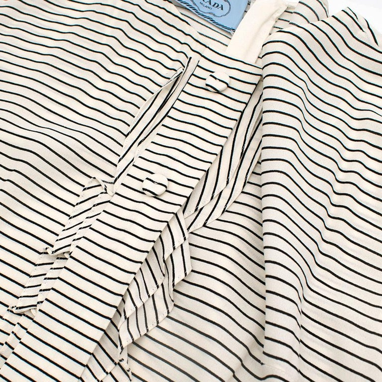 Prada Tie-Waist Striped Crepe Dress IT 40 For Sale 3