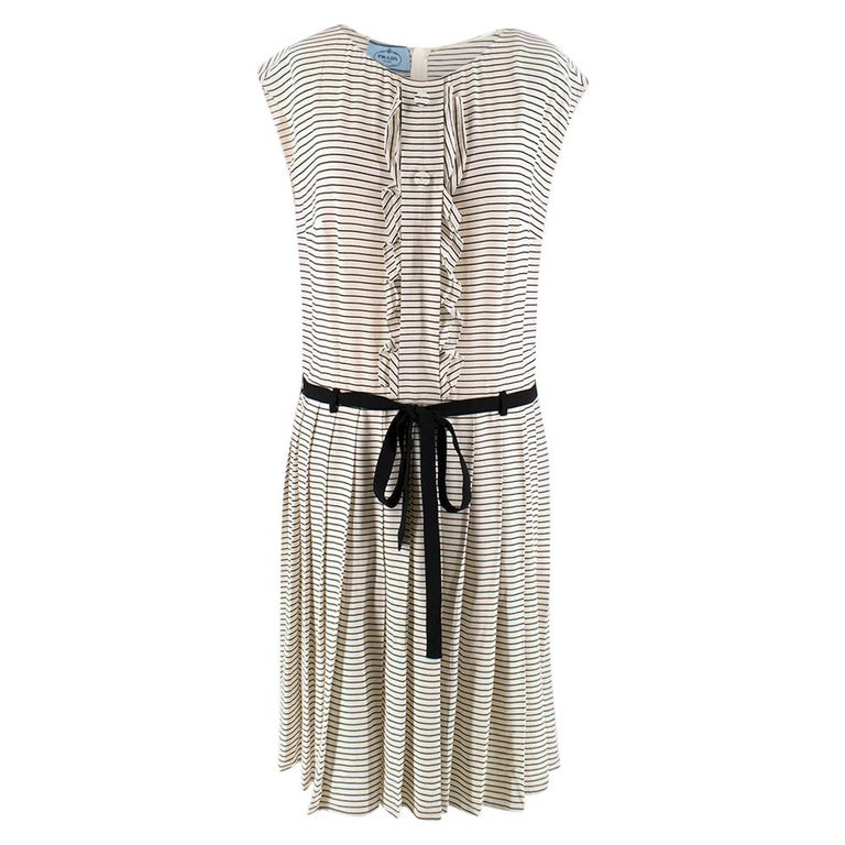 Prada Tie-Waist Striped Crepe Dress IT 40 For Sale