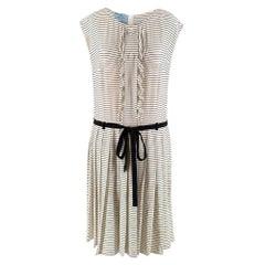 Prada Tie-Waist Striped Crepe Dress - Size US 4