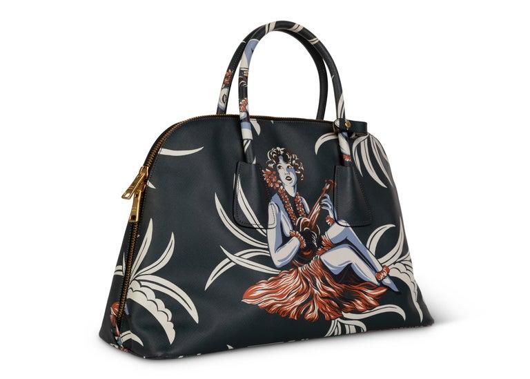Black Prada Top Handle Hawaiian Print Saffiano Leather Bag, 2014 For Sale
