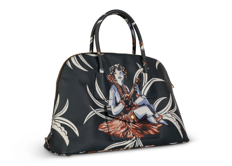 Prada Top Handle Hawaiian Print Saffiano Leather Bag, 2014 In Excellent Condition For Sale In Boca Raton, FL