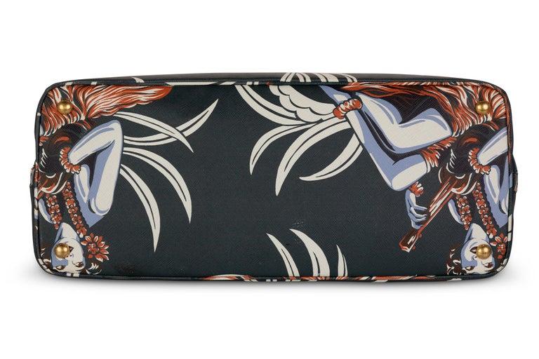 Women's or Men's Prada Top Handle Hawaiian Print Saffiano Leather Bag, 2014 For Sale