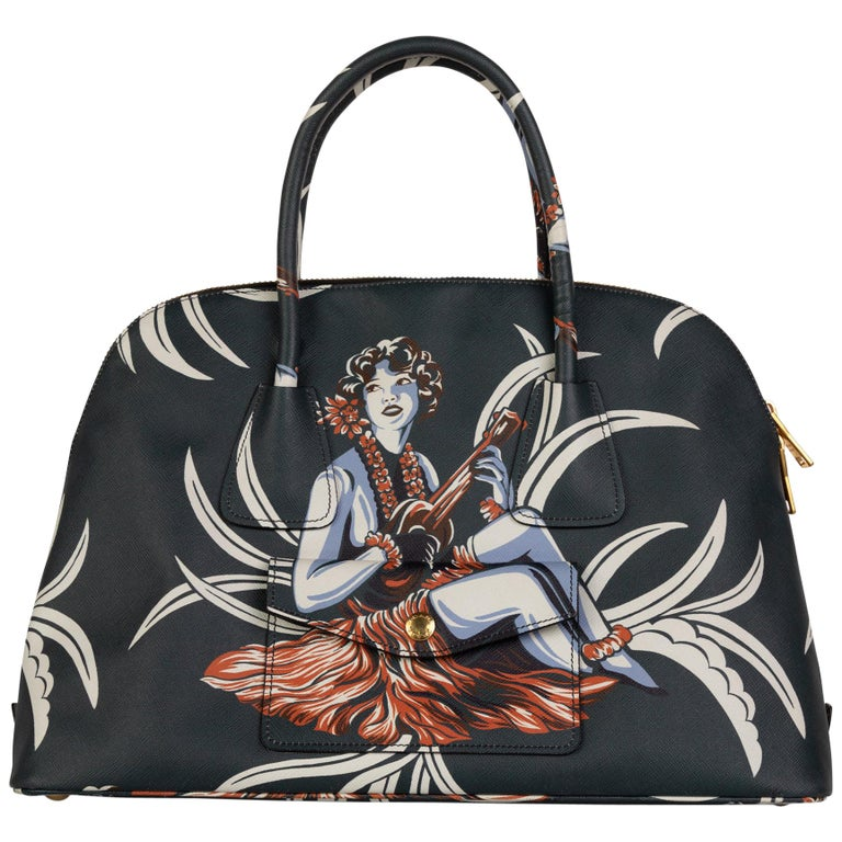 Prada Top Handle Hawaiian Print Saffiano Leather Bag, 2014 For Sale