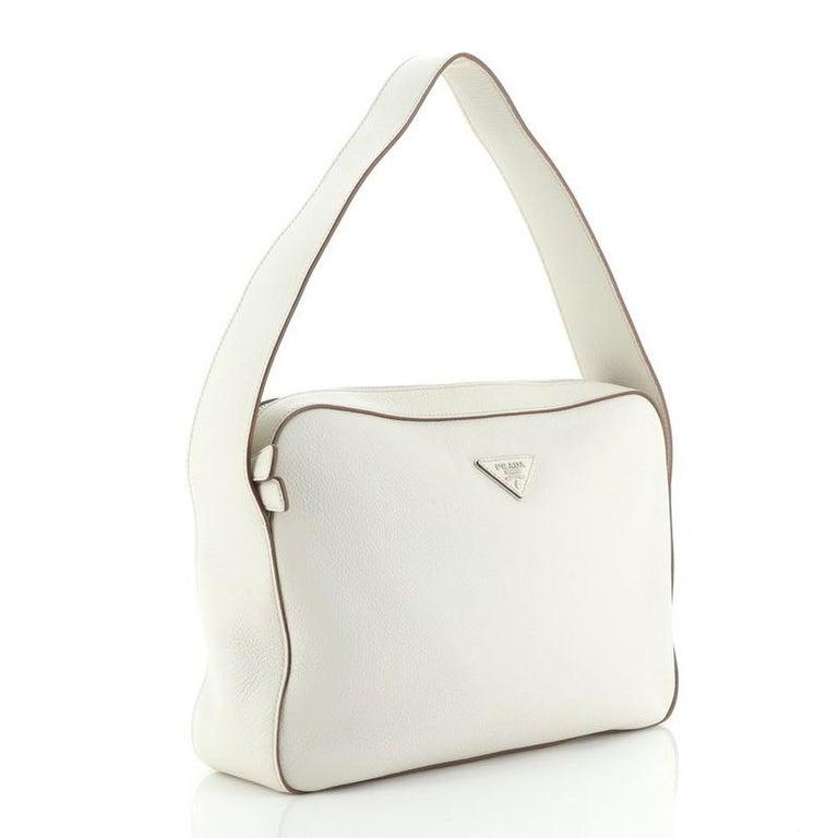 Prada Top Zip Shoulder Bag Vitello Daino Medium In Good Condition For Sale In New York, NY