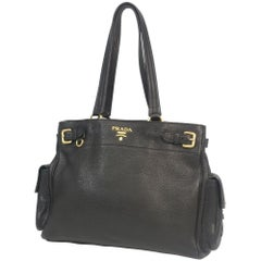PRADA tote bag Womens shoulder bag black x gold hardware