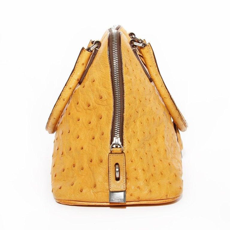 Orange Prada Trapazoid Ostrich Leather Handbag   For Sale