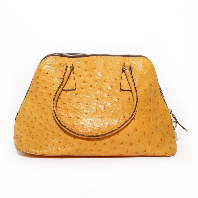 Prada Trapazoid Ostrich Leather Handbag   In Good Condition For Sale In Los Angeles, CA