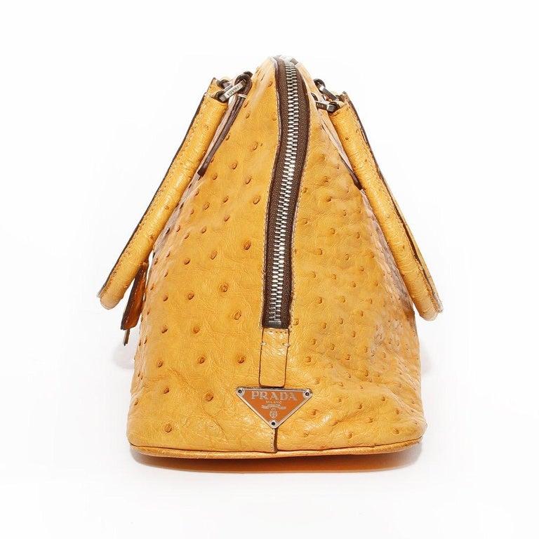Women's Prada Trapazoid Ostrich Leather Handbag   For Sale