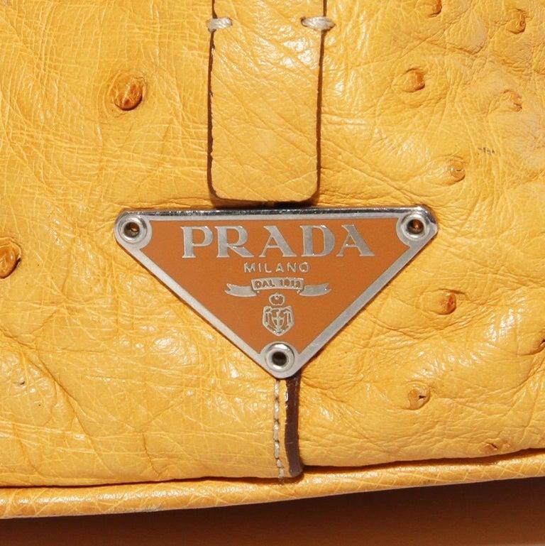 Prada Trapazoid Ostrich Leather Handbag   For Sale 1