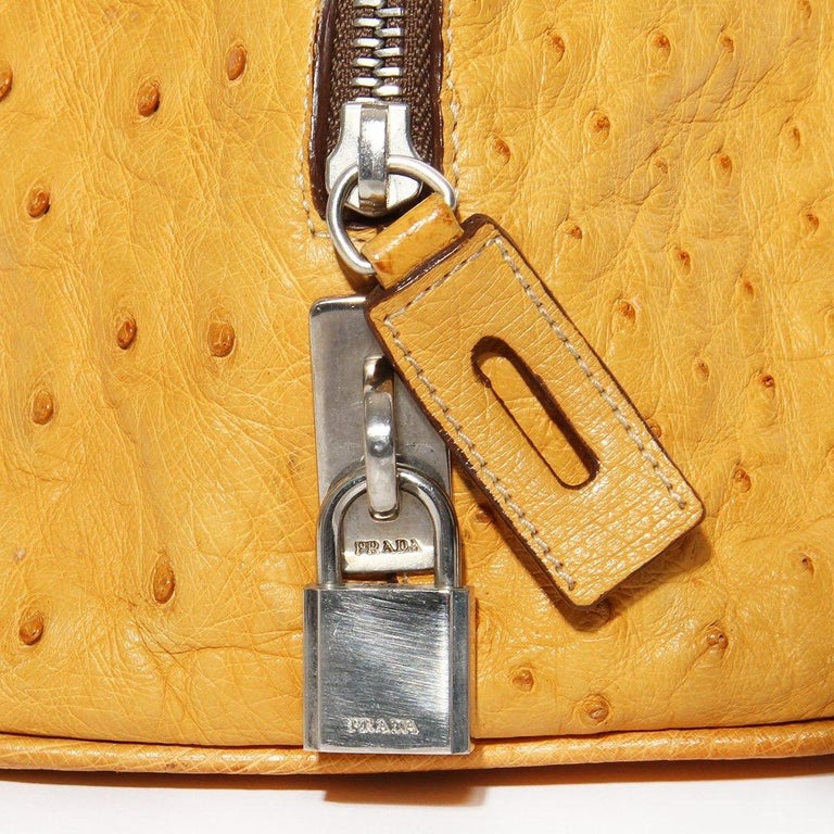 Prada Trapazoid Ostrich Leather Handbag   For Sale 2