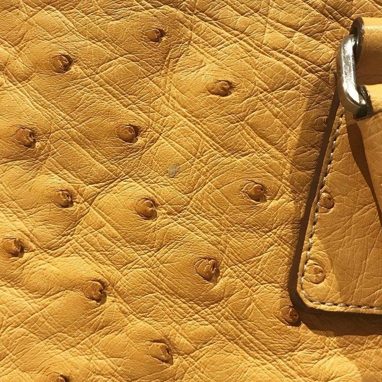 Prada Trapazoid Ostrich Leather Handbag   For Sale 4