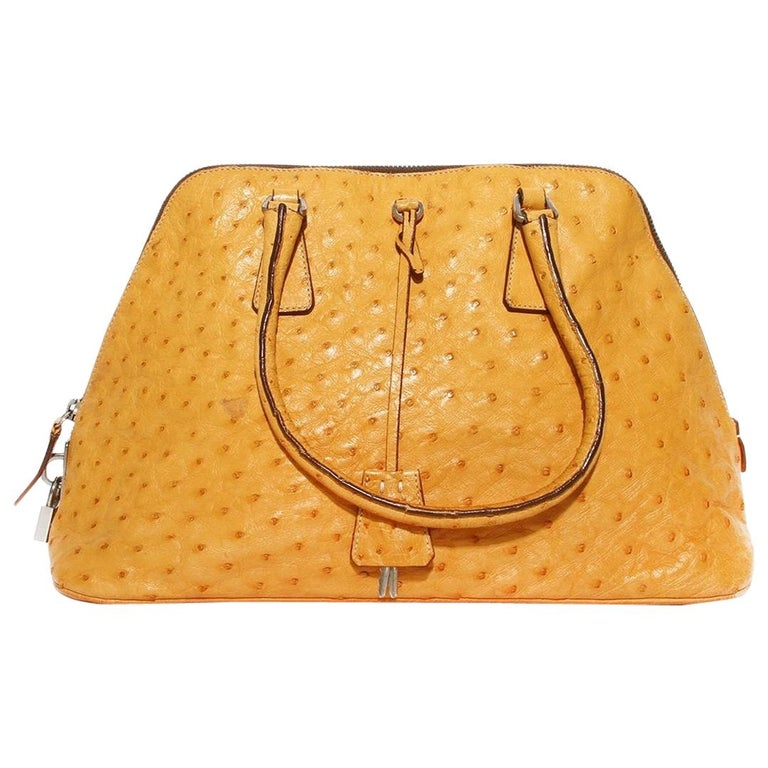 Prada Trapazoid Ostrich Leather Handbag   For Sale