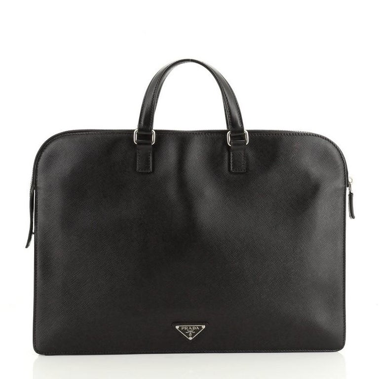 Black Prada Travel Briefcase Saffiano Leather
