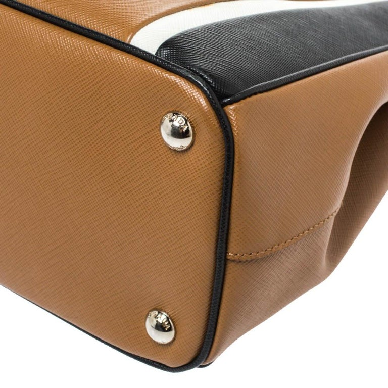 Prada Tri Color Striped Saffiano Leather Small Double Zip Tote For Sale 5