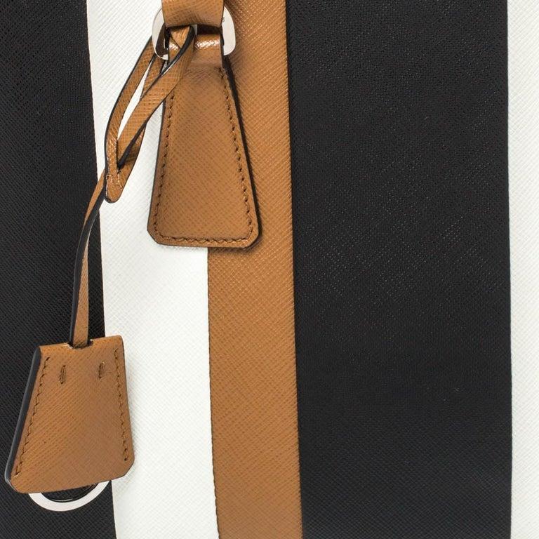 Prada Tri Color Striped Saffiano Leather Small Double Zip Tote For Sale 6