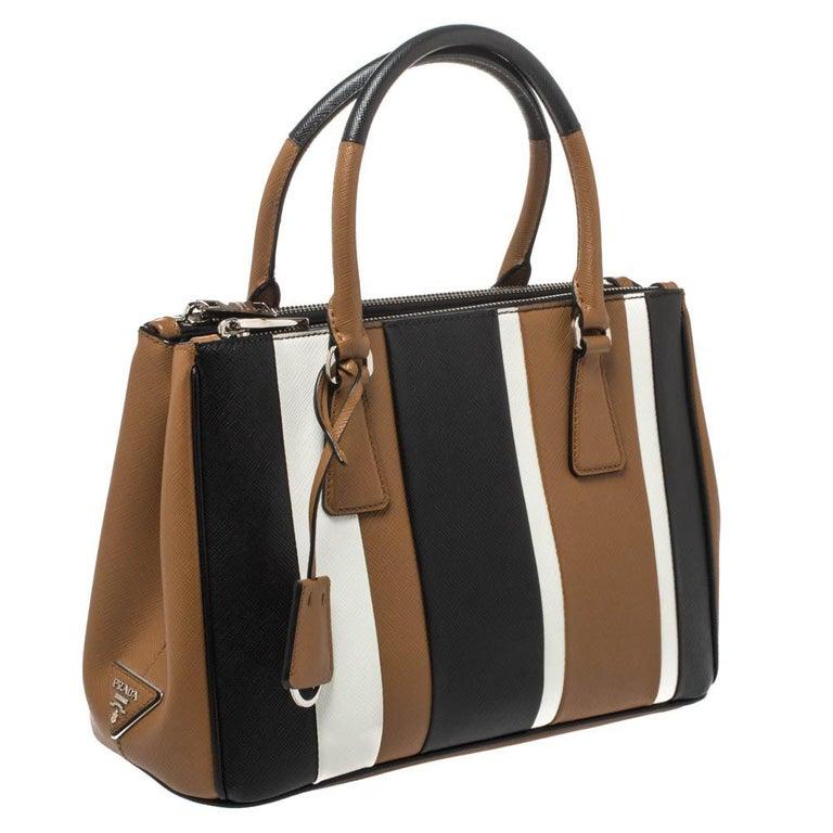 Prada Tri Color Striped Saffiano Leather Small Double Zip Tote In Good Condition For Sale In Dubai, Al Qouz 2