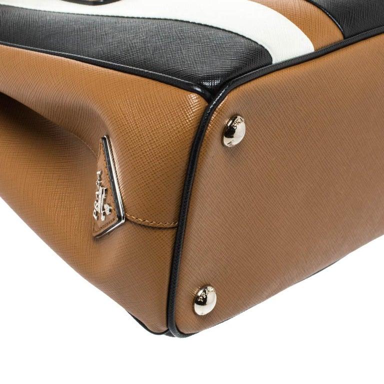 Prada Tri Color Striped Saffiano Leather Small Double Zip Tote For Sale 1