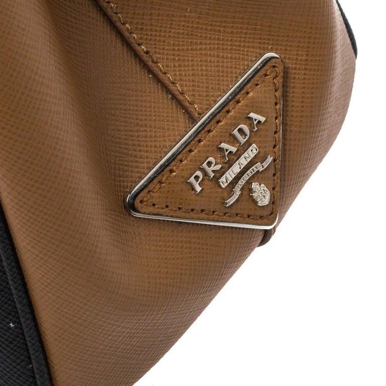Prada Tri Color Striped Saffiano Leather Small Double Zip Tote For Sale 2