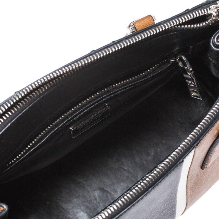 Prada Tri Color Striped Saffiano Leather Small Double Zip Tote For Sale 4
