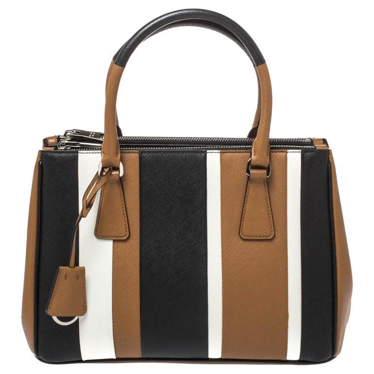 Prada Tri Color Striped Saffiano Leather Small Double Zip Tote For Sale