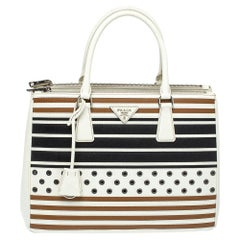 Prada Tricolor Striped and Rivet Detail Saffiano Lux Leather Medium Double Tote