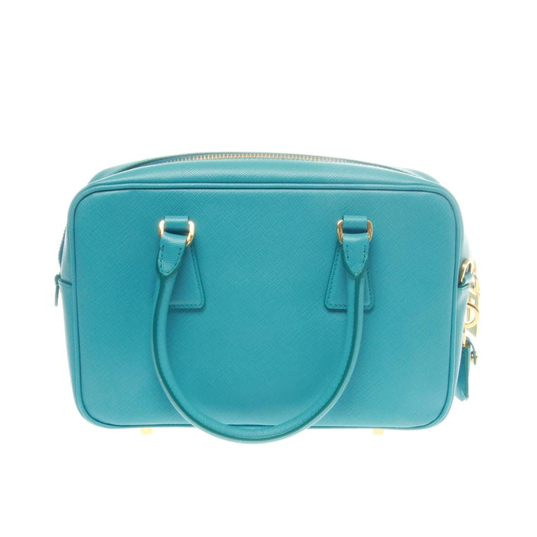 Blue Prada Turchese Saffiano Lux Bauletto Bag  For Sale