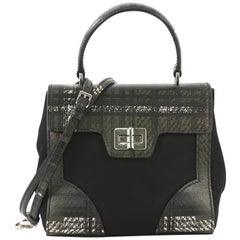 Prada Turn Lock Top Handle Bag Printed Saffiano Leather with Tessuto Small