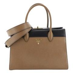 Prada Turnlock Convertible Satchel Saffiano Leather with Glazed Calfskin