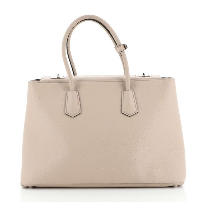 Prada Turnlock Cuir Twin Tote Saffiano Leather Medium In Good Condition For Sale In New York, NY