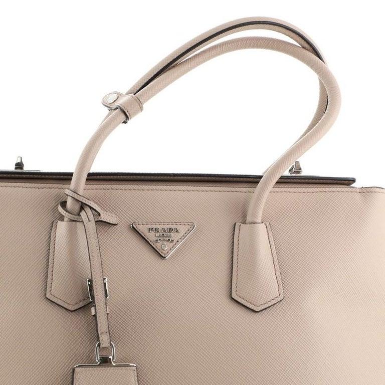 Prada Turnlock Cuir Twin Tote Saffiano Leather Medium For Sale 2