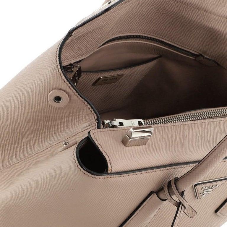 Prada Turnlock Cuir Twin Tote Saffiano Leather Medium For Sale 3