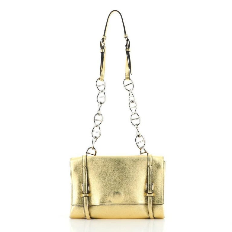 Prada Turnlock Flap Chain Bag Leather Small In Good Condition For Sale In New York, NY