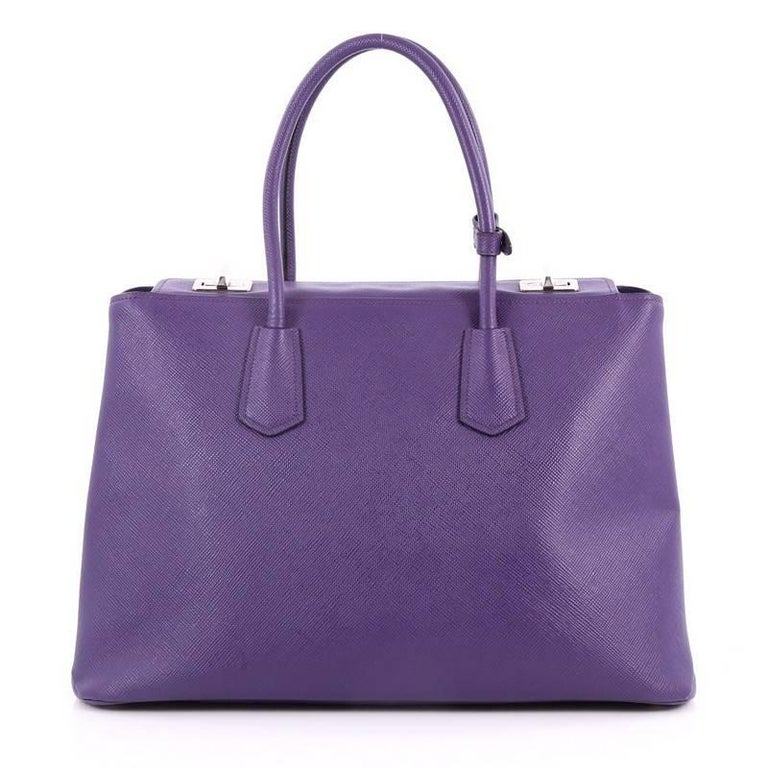 Prada Turnlock Twin Tote Saffiano Leather Medium In Good Condition For Sale In New York, NY