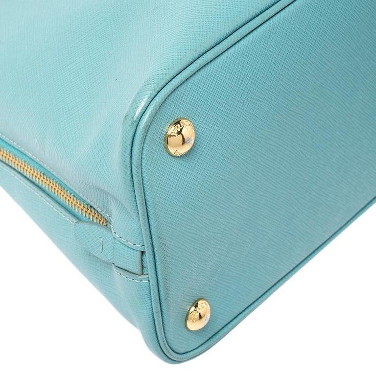 Prada Turquoise Saffiano Leather Medium Promenade Tote For Sale 6