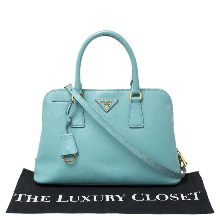 Prada Turquoise Saffiano Leather Medium Promenade Tote For Sale 7