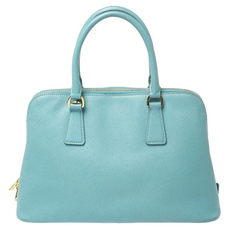 This stunning Promenade tote is high on appeal and style. Dazzling in a classy turquoise shade, the bag is crafted from leather and features two rolled handles. The zip closure leads way to a nylon interior with enough space for your essentials and