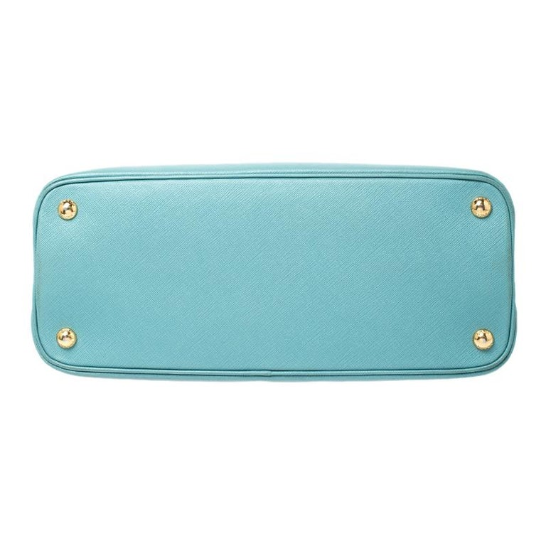 Prada Turquoise Saffiano Leather Medium Promenade Tote For Sale 1