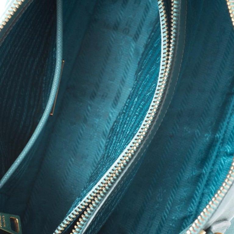 Prada Turquoise Saffiano Leather Medium Promenade Tote For Sale 2