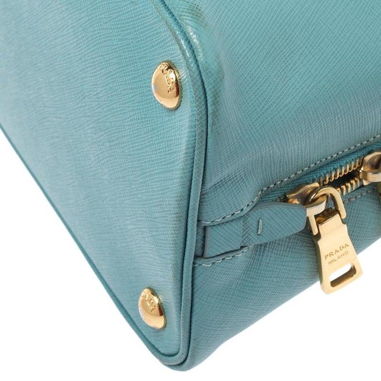 Prada Turquoise Saffiano Leather Medium Promenade Tote For Sale 4