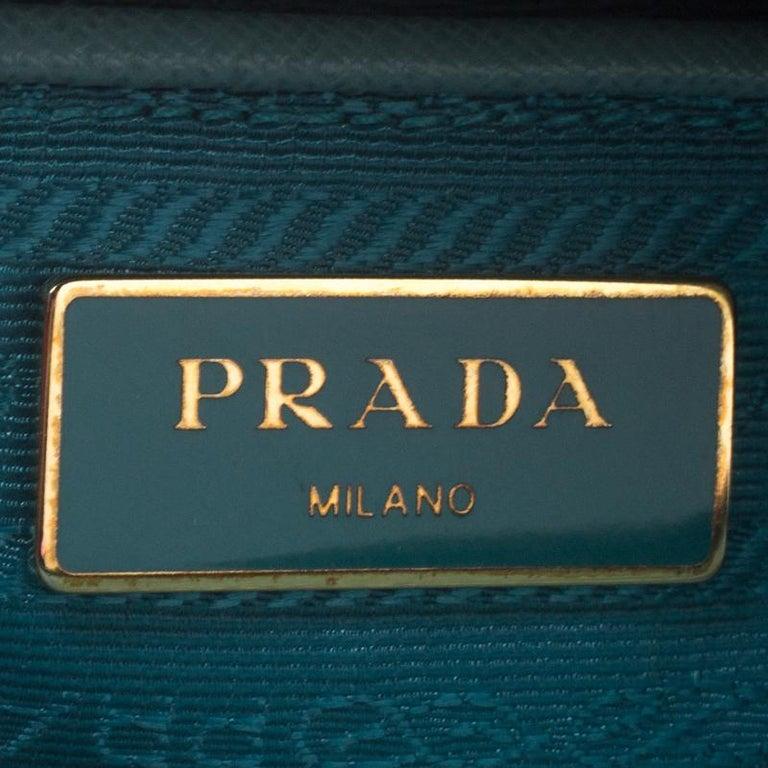 Prada Turquoise Saffiano Leather Medium Promenade Tote For Sale 5