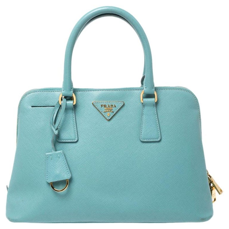 Prada Turquoise Saffiano Leather Medium Promenade Tote For Sale