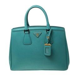 Prada Turquoise Saffiano Lux Leather Parabole Tote