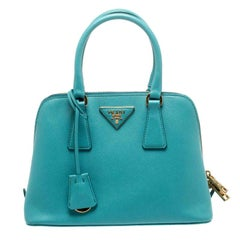 Prada Turquoise Saffiano Lux Leather Small Promenade Crossbody Bag