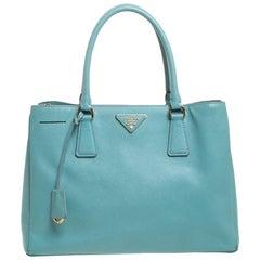 Prada Turquoise Saffiano Lux Leather Tote