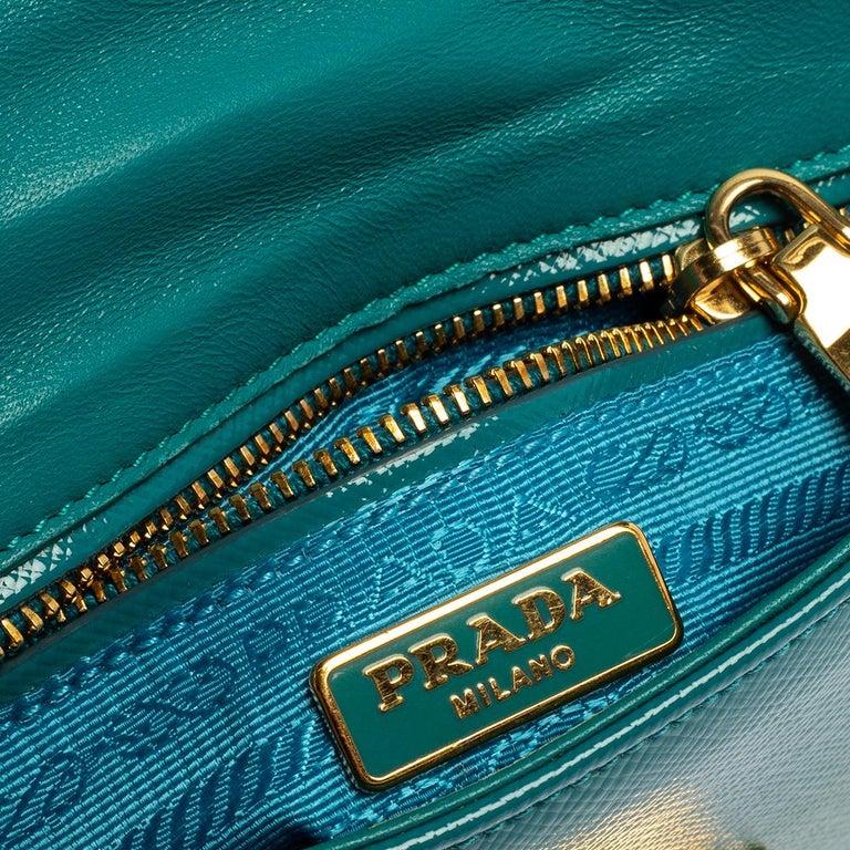 Prada Turquoise Saffiano Vernic Leather Mini Crossbody Bag For Sale 5