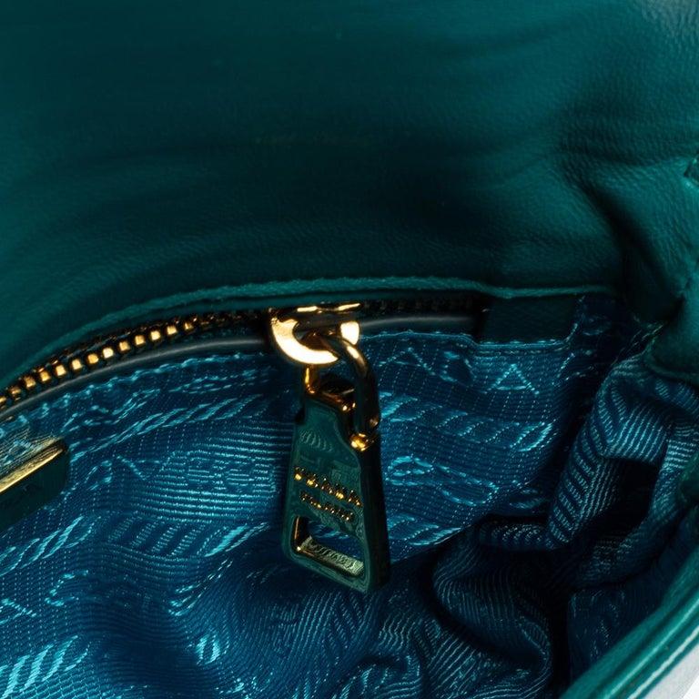 Prada Turquoise Saffiano Vernic Leather Mini Crossbody Bag For Sale 6