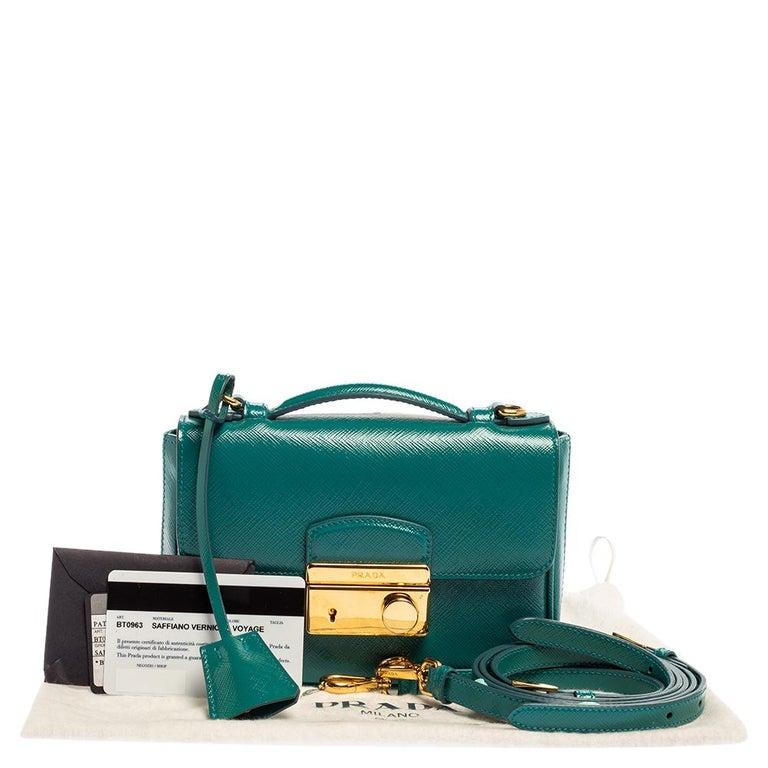 Prada Turquoise Saffiano Vernic Leather Mini Crossbody Bag For Sale 7