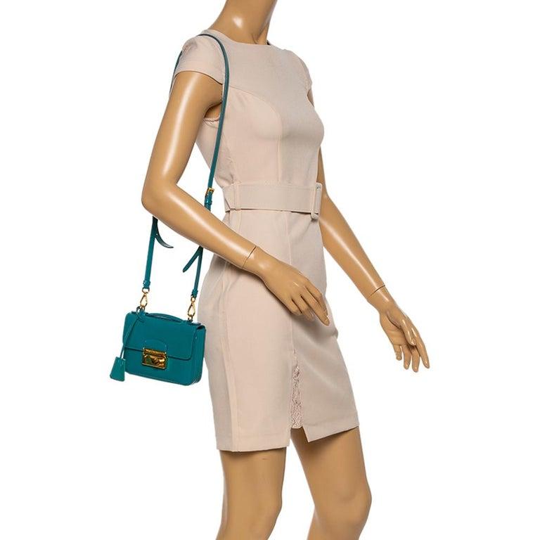 Blue Prada Turquoise Saffiano Vernic Leather Mini Crossbody Bag For Sale