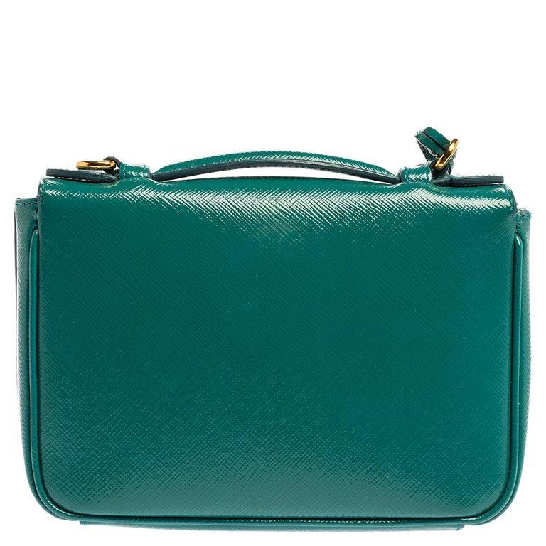 Prada Turquoise Saffiano Vernic Leather Mini Crossbody Bag In Good Condition For Sale In Dubai, Al Qouz 2